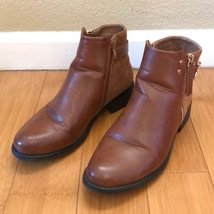 Brown Faux Leather Booties